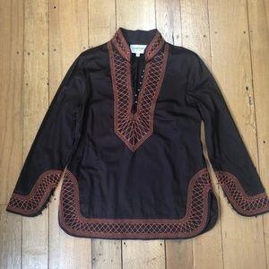 Elizabeth McKay Embroidered Mandarin Collar Tunic